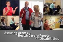 Collage of disabled people in various healthcare settings and situations