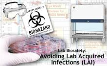 Collage of laboratory equipment and biohazard signage
