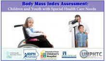 Picture of young girl in a wheel chair, and a young boy being measured by a doctor