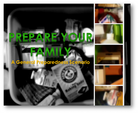 Collage showing blurred images of To-Go Emergency Kits