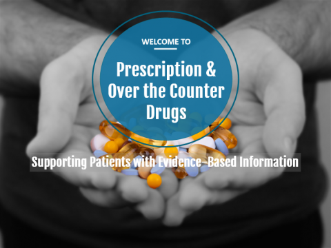 A picture of two hands in black and white holding a variety of pills in color, with the course title overlaid