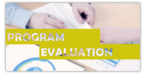 Program Evaluation title overlaying a pair of hands working on a variety of charts and graphs.