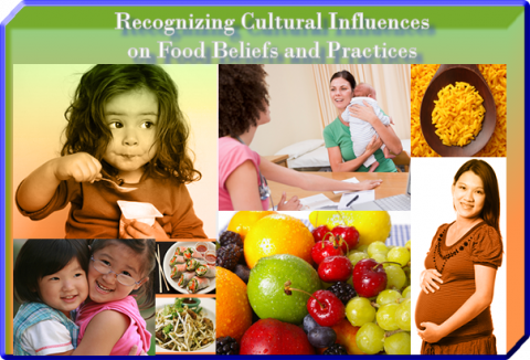 Collage of various people from different ethnicities engaged in everyday activities and a picture of fruit.